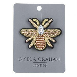 Gold Bee Jewelled Brooch