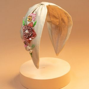 Embroidered Champagne Floral Headband