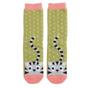 Moss Kitty & Spots Socks